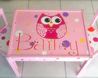 Personalized Name and Owl Play Table and 2 Chairs for Children 1 and up (Pink Set)
