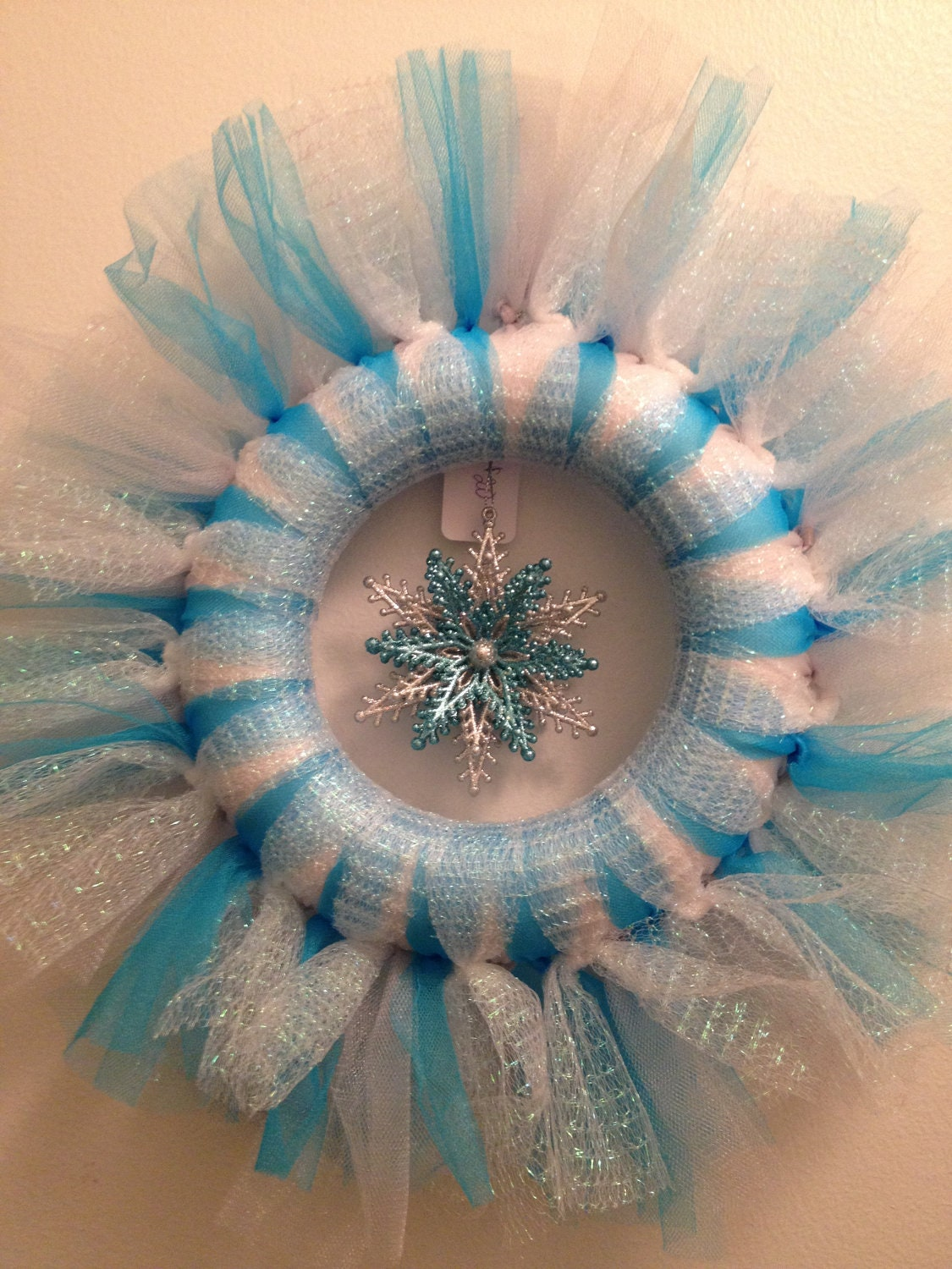 Turquoise and Silver with Iridescent Tulle Wreath with snowflake ornament