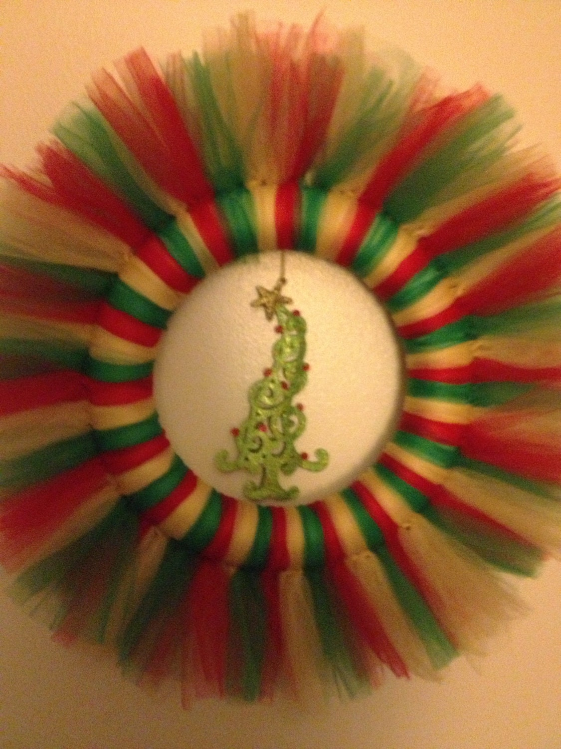 Red, Green, and Gold Christmas Tulle Wreath