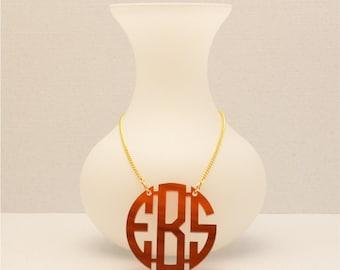 Small 1.25 Inch Custom Tortoise Shell Geometric Monogram Acrylic Necklace, Personalized Jewelry