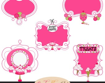 Instant Download - Sweet Treats Themed Ornate Frames, Digital Frames, Decorative Frames - Ice Cream, Candy, Lollipop, Cupcake