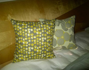 SALE - 18 x 18 Pillow Covers - Midwest Modern Martini Mustard / Midwest Modern Optic Blossom Linen