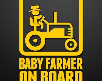 Baby Farmer On Board Custom Vinyl Decal/Sticker