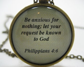 Scripture Necklace Bible Verse Philippians 4:6 Be Anxious For Nothing Let Your Request Be Known To God