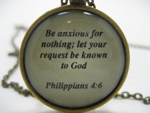 Scripture necklace bible verse philippians 4 6 be anxious for nothing