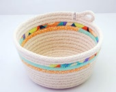 LIMITED EDITION // Fabric Wrapped Rope Bowl MEDIUM // Orange and Teal - Zillpa