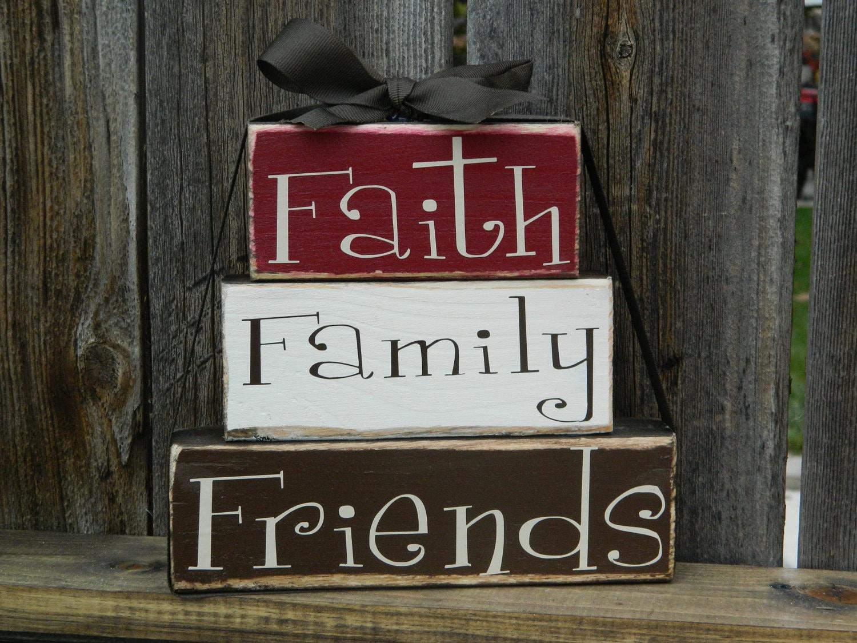 Faith family friends wood stacker blocks home by for Faith decor