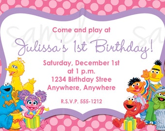 Sesame Street Birthday Invitation, Elmo Birthday Invitation. Sesame street invitation, sesame street invite, elmo invitation