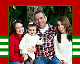 Simple Red Green Christmas Card Photo