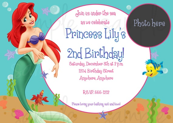 little mermaid birthday invitation, Birthday invitations