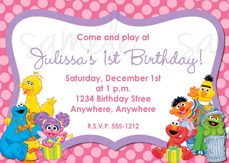 sesame street birthday invitation elmo birthday invitation., Party invitations