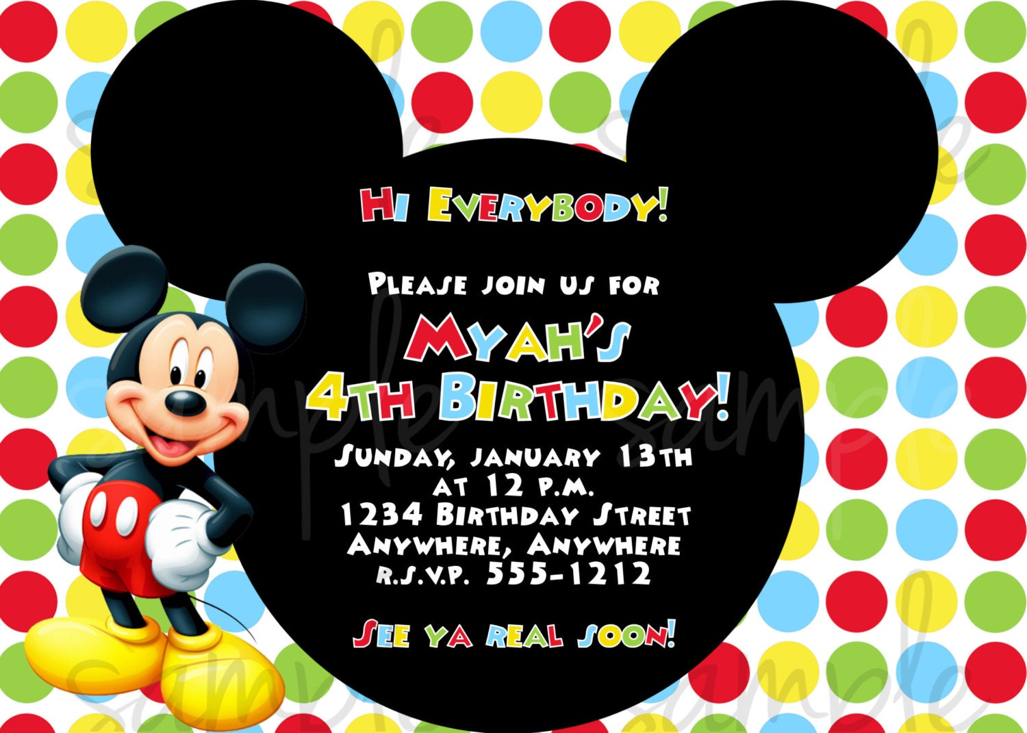 Mickey Mouse Birthday Invitation