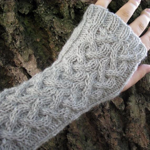 Knit fingerless gloves wool arm warmers / wrist by wooolmint