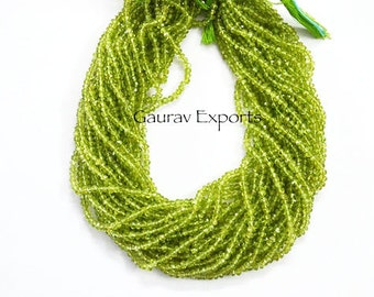 10 strands pack ,Peridot Faceted Hand Cutting 3.50 -4 mm ,14 inch strand