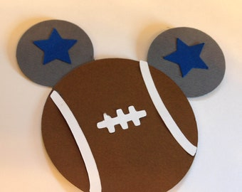"5"" Football Mickey Mouse  Cut Out for Favor Tags, Scrapbooks, Decorations in ANY TEAM"
