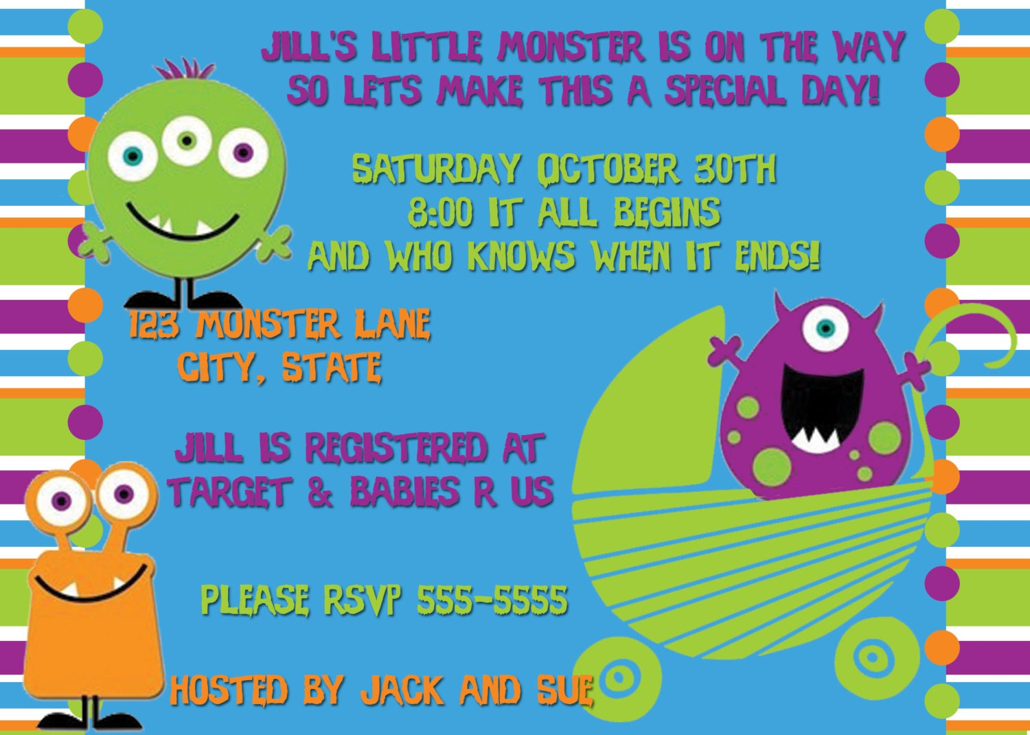 Monster Baby Shower Invitations