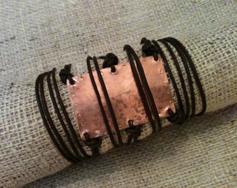 Hand Hammered Copper & Brown Leather Wrap Around Bracelet