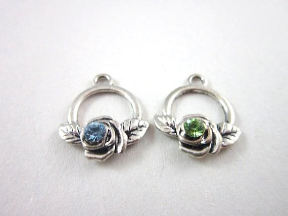 Silver Circle Rose Charms