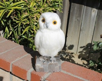 White Realistic Medium Feather Owl Bird Figurine Snowy Owls Furry Animal Bird L