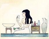 Egyptian Woman Washing Her Face 8x10 (Original Artwork)