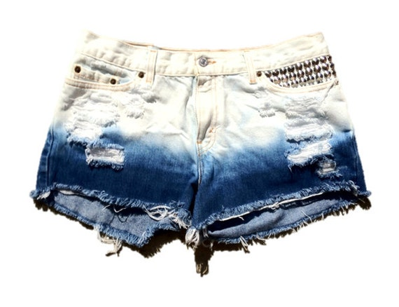 Studded Distressed Ombre Low Rise Levi's Cut Off Shorts