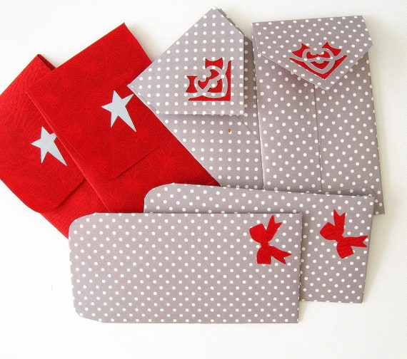 Handmade Luxe Mini Envelopes - QTY 6 Red and gray formal envelopes 4 x 2.5 in 10x6cm -supplies gifts thank you notes packaging