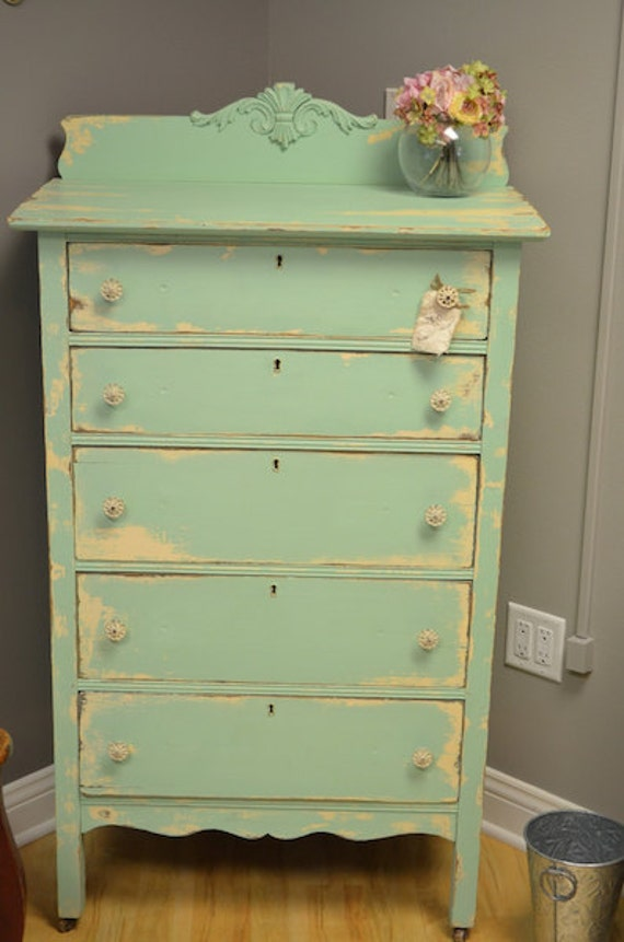 Items similar to Brightly colored shabby chic Dresser ( sold ) on Etsy