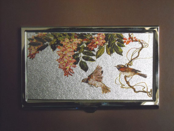 Vintage Business Name Card Holder Case Birds & Flowers by