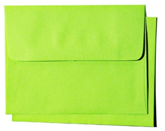 25 A6 Spring Green Envelopes - for 4x6 craft and response card  Fresh Bright Color