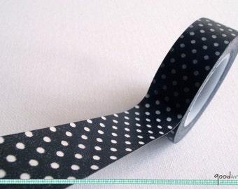 White Polka Dots Washi Tape / Masking Tape - 10m, 1 Roll, black