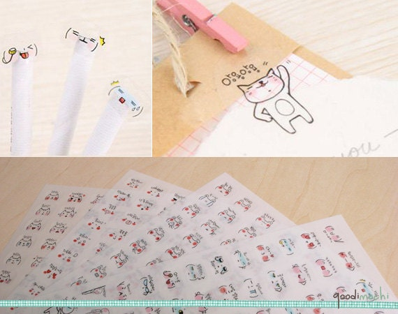 Funny Emoticon Sticker Set - 4 Ark, 320 Pieces - Transparent klistremerker, Expression, Smile, glad, trist, Cry, Angry, Spent, In Love