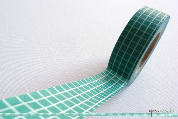 Green and White Grids Washi Tape / Masking Tape - Classic, 15m, 1 Roll