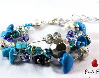 Turquoise bracelet, light blue bracelet, bridal, bridesmaid accessory, owl, bells, butterfly, starfish, heart, something blue