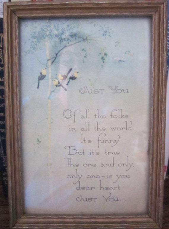 sweet vintage FRAMED VERSE MOTTO Just You birds Buzza style
