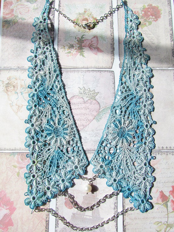 Lace Collar Necklace with pearl and chain - Emily