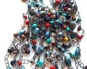 Paper Bead Chain Crochet Southwest Style Necklace