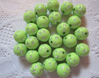 15  Lime Green & Silver Star Etched Round Acrylic Beads  12mm