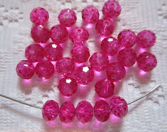 24  Hot Pink Fuchsia Magenta Rondelle Crystal Beads  8mm x 6mm