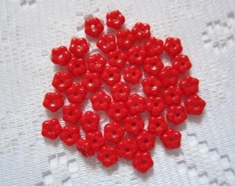 25  Bright Opaque Christmas Red Czech Glass Flower Beads  5.5mm