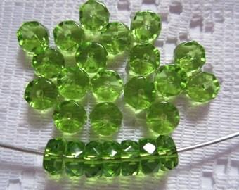 25  Grass Green Transparent Faceted Disc Czech Glass Beads  6mm