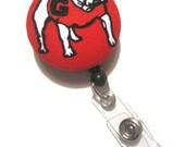 Retractable ID BADGE Reel Holder, Lanyard made with Georgia Bulldogs Fabric