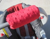 CUTE Car Seat ARM PAD Handle with Red Minky Fabric