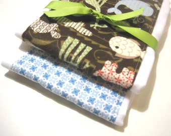 Babies Burp Cloth Set- Burp Rags-Cute Blue Brown Animals, Baby Shower Gift, For Feeding Nursing Cloths, Matching Bib