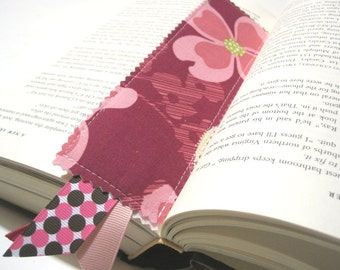 Fabric Bookmark -Fucshia Flowers, Pink Brown Polka Dots- Great Gift for the Avid Reader,  Children