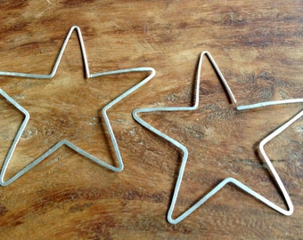 Large Silver Star Earrings