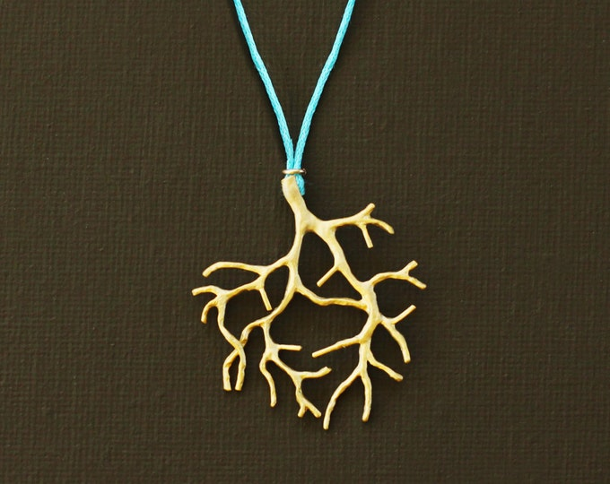 Gold Coral Branch Necklace on Turqoise Wax Cord