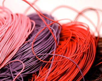 Leather - 1mm round leather cord in pink, brown, purple, or red.  3 yards. 9 feet
