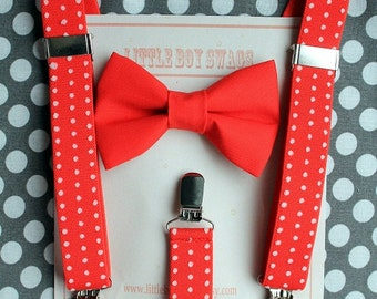 Boys Christmas Bow Tie, Boy Suspenders, First Birthday Boy, Ring Bearer Outfit, Toddler Bow Tie, Boy Christmas Outfit, Kids Christmas Outfit