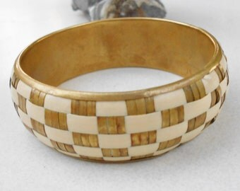 brass Indie bangle bracelet Ivory and brass woven design Vintage 1970s jewelry