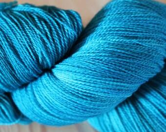 Turquoise Blue Merino Lace Yarn - Moon Stone Farm